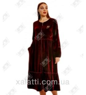 "Платье-халат велюровое на молнии ""Мотылек"" Cocoon бордо"