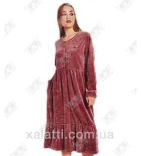 """Платье-халат велюровое на молнии """"Мотылек"""" Cocoon фрез"""