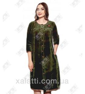 """Велюровый женский халат на пуговицах """"Оверсайз""""  Cocoon зеленый"""
