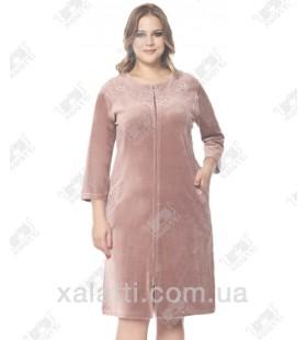 """Велюровый женский халат на молнии """"Цветочная вышивка"""" RS лиловый"""