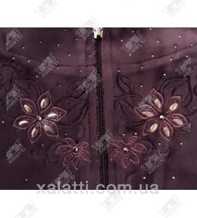 """Велюровый женский халат на молнии """"Цветочная вышивка"""" RS фиолетовый"""