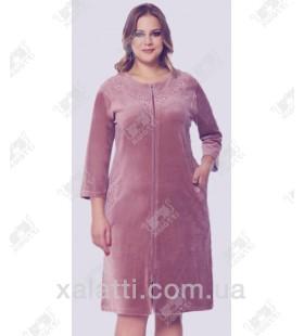 """Велюровый женский халат на молнии """"Цветочная вышивка"""" RS сиреневый"""