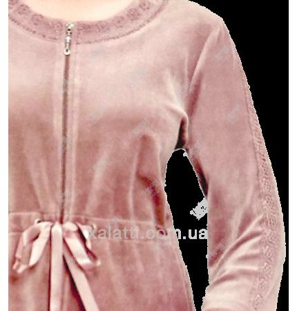 """Велюровый женский халат на молнии """"Поясок"""" RS фрез"""