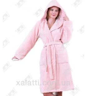 """Халат женский с капюшоном """"Термо"""" BL розовый бамбук"""