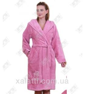 """Халат женский с капюшоном """"Вышивка"""" BL розовый бамбук"""