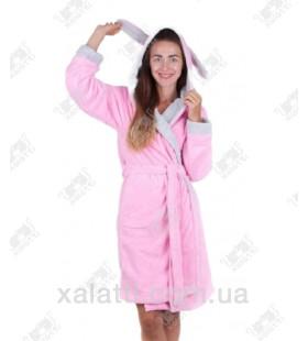 """Халат женский с капюшоном """"Заяц"""" BL розовый бамбук"""