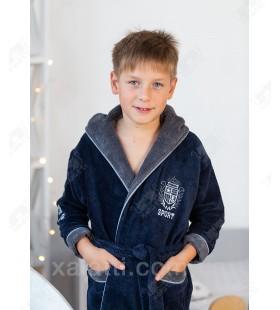 Халат детский махровый лет Sport серый Aldona