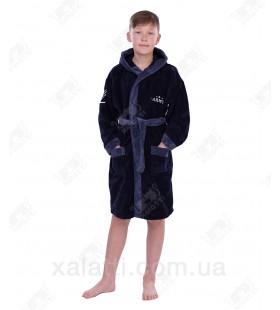 Халат детский махровый Prince сине-серый бамбук Piramyt