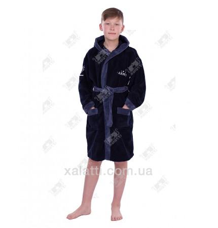 Халат детский махровый Army сине-серый бамбук Piramyt