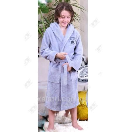 Детский махровый халат серый NET BL бамбук