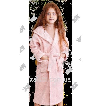 Подростковый махровый халат персиковый BL бамбук