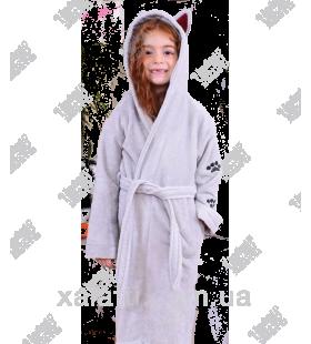 """Детский махровый халат """"Кошечка"""" серый BL бамбук"""