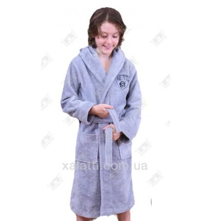 Подростковый махровый халат синий с голубым BL бамбук