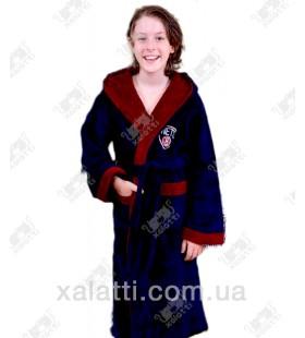 Детский махровый халат синий с бордо BL бамбук
