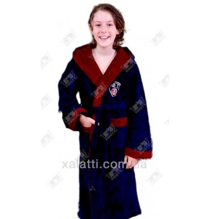 Подростковый махровый халат синий с бордо BL бамбук