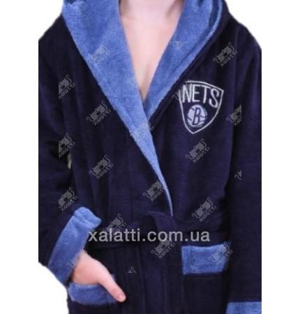 Детский махровый халат синий с голубым BL бамбук