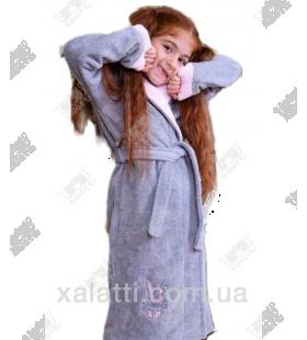"""Детский махровый халат """"Заяц"""" серый BL бамбук"""