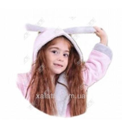 """Подростковый махровый халат """"Заяц"""" BL бамбук розовый"""