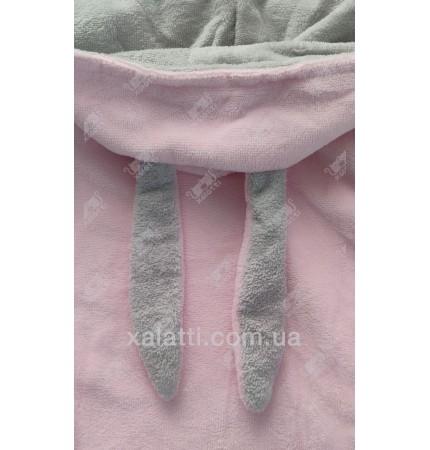 """Детский махровый халат """"Заяц"""" розовый BL бамбук"""