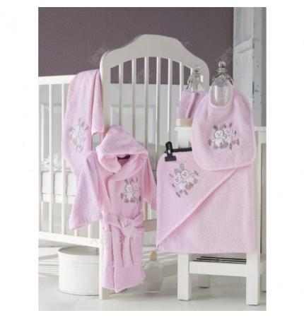 Детский махровый набор 5 предметов Babyclub розовый