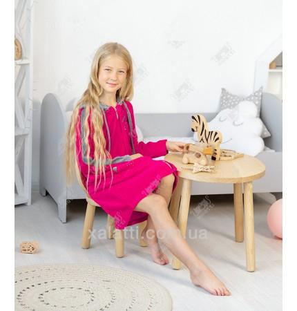 Халат для девочки велюр малиновый