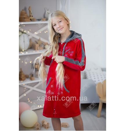 Халат для девочки велюр красный