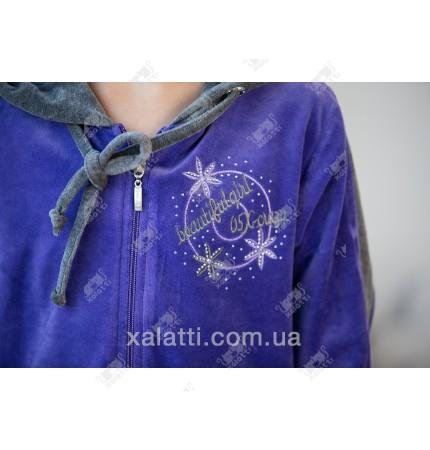 Халат для девочки велюр фиолетовый