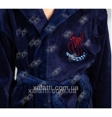 Халат детский махровый Spidermen синий Piramyt
