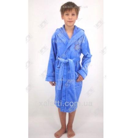 Халат детский махровый ММ голубой