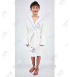 Халат детский махровый на мальчика белый