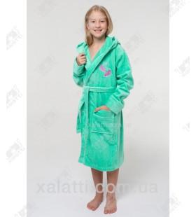 Халат детский махровый ММ зеленый