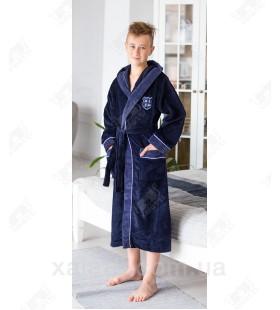 Халат подростковый махровый синий Nusa бамбук