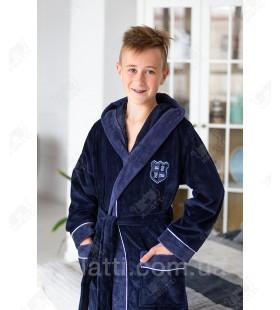 Детский махровый халат синий Nusa бамбук