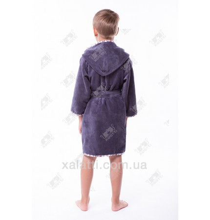 """Детский махровый халат """"Пират"""" серый бамбук"""