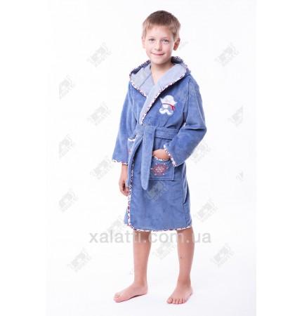"""Детский махровый халат """"Пират"""" голубой бамбук"""