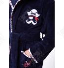 """Детский махровый халат """"Пират"""" синий бамбук"""