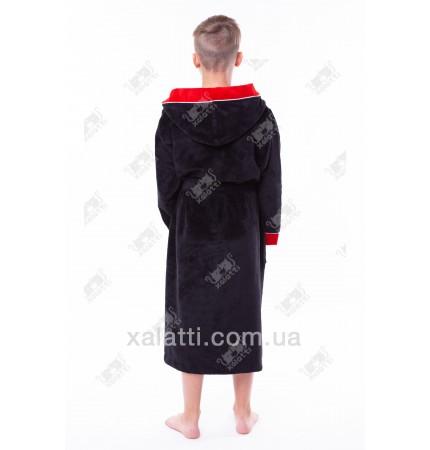 Халат подростковый махровый черный Nusa бамбук