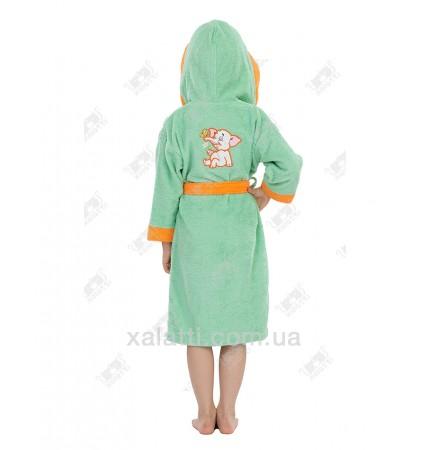 """халат детский махровый """"Слоник"""" зеленый Philippus"""