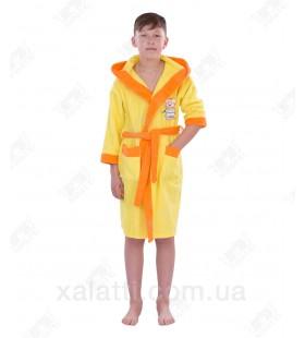 """Халат детский махровый """"Щенок"""" желтый Phillipus"""