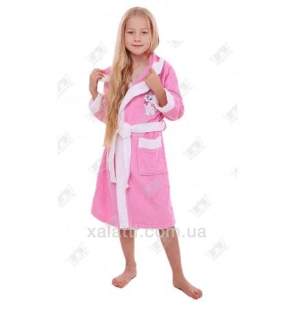 """Халат детский махровый  """"Кошечка"""" розовый Philippus"""