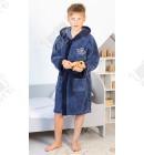 Халат детский махровый Prince серо-синий бамбук Piramyt