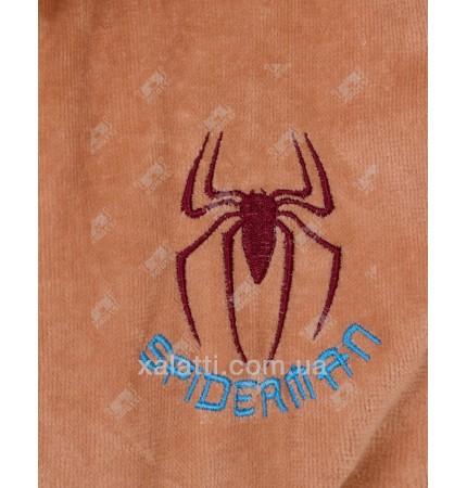 Халат подростковый махровый Spidermen кофе Piramyt