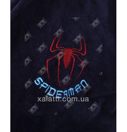 Халат подростковый махровый лет Spidermen синий Piramyt