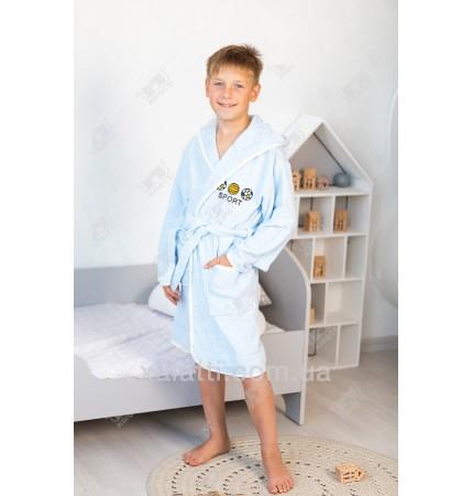 Детский махровый халат Pupilla голубой