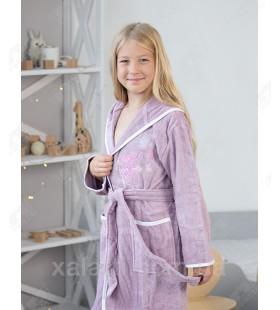 Детский махровый халат для девочки Pupilla сиреневый