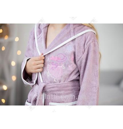 Детский махровый халат для девочки на 5-6  Pupilla сиреневый