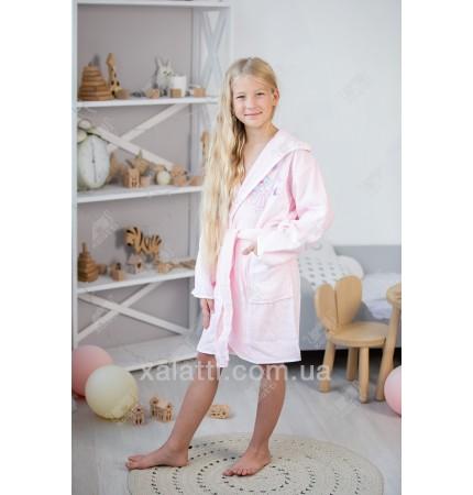 Детский махровый халат для девочки Pupilla розовый