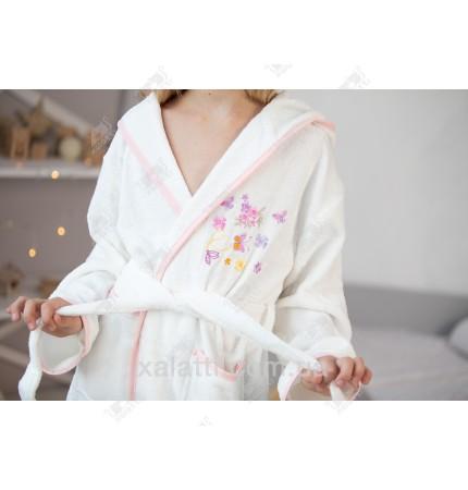 Детский махровый халат для девочки Pupilla белый