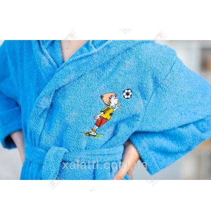 Халат детский махровый голубой Футбол