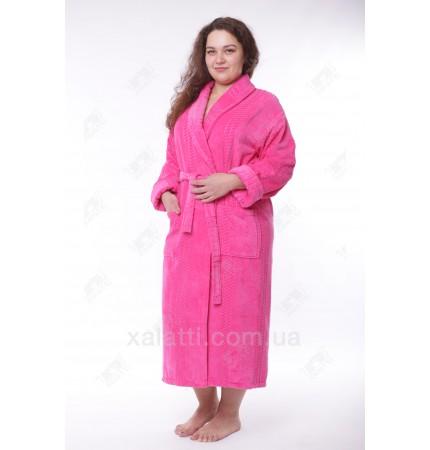 женский махровый халат большой размер малиновый Massimo Monelli